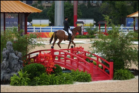 The Chinese culture is reflected in the Dressage Arena